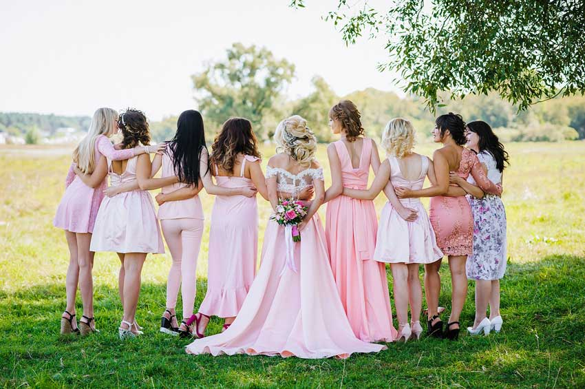 Brides and Bridesmaids in Pink